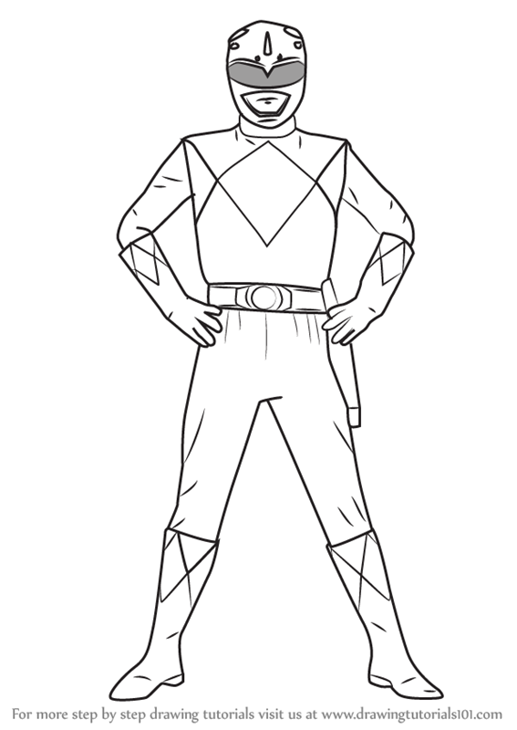 Learn How to Draw Blue Ranger from Power Rangers Power Rangers