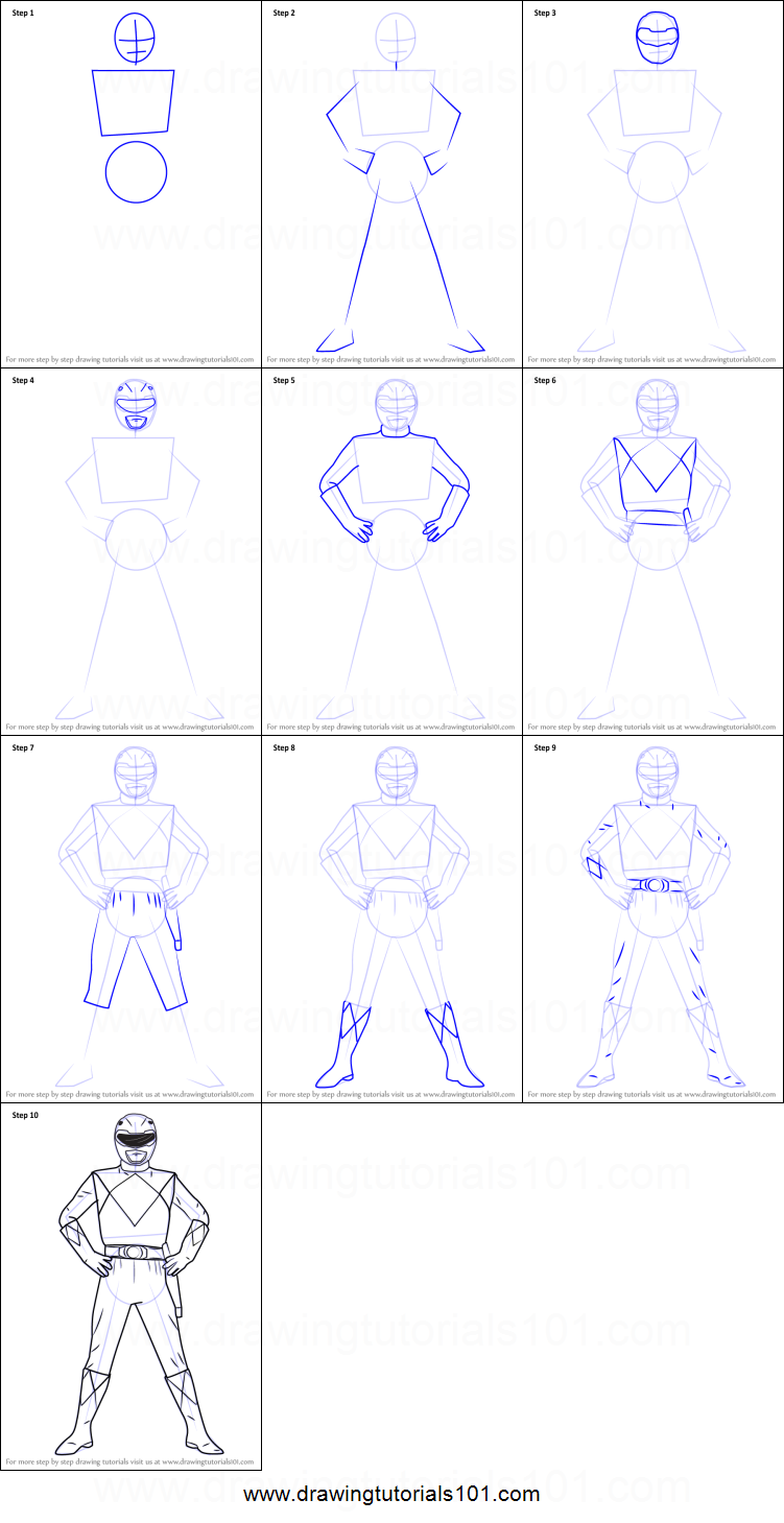 How To Draw Red Ranger From Power Rangers Printable Step By Step Drawing Sheet Drawingtutorials101 Com