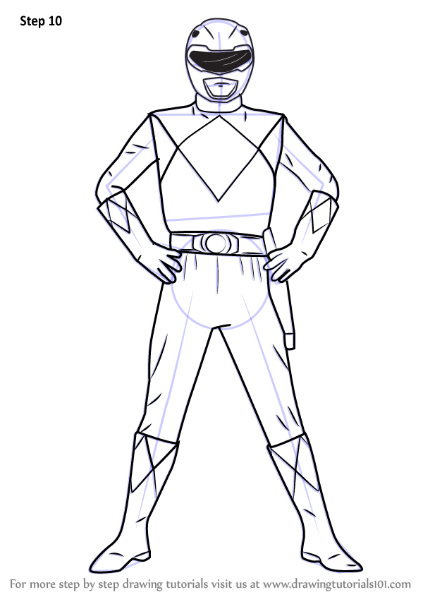 Learn How To Draw Red Ranger From Power Rangers Power