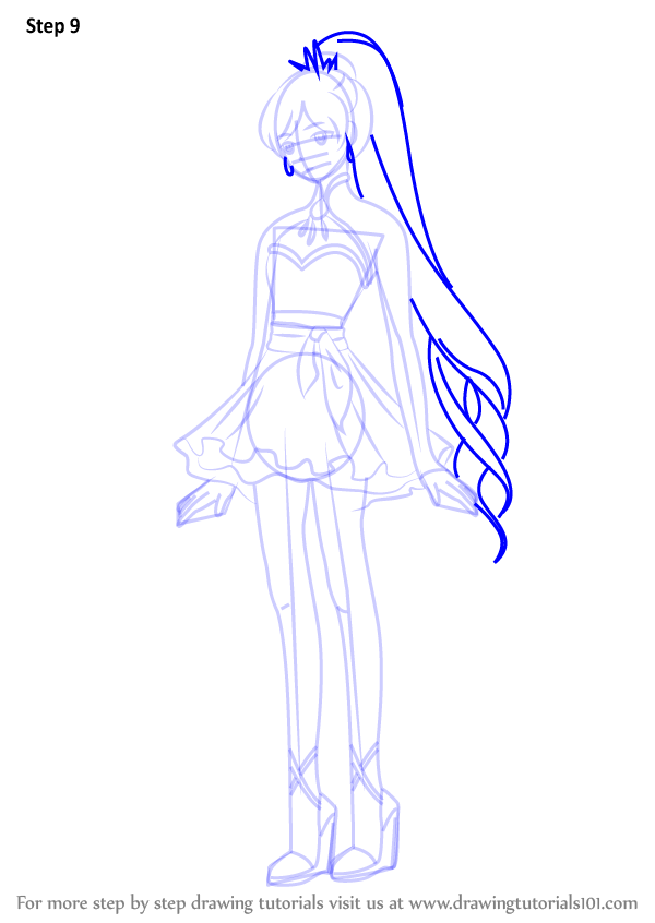 step by step how to draw weiss schnee from rwby