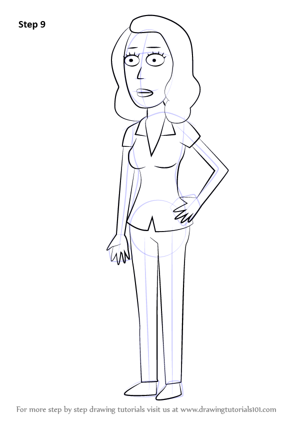 Learn How To Draw Beth Smith From Rick And Morty Rick And