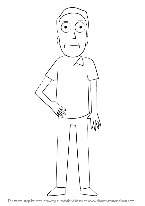 how to draw rick and morty step by step