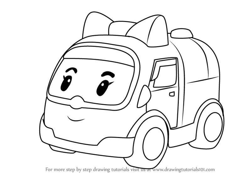 Step by step how to draw amber amubulance from robocar - Ambre robocar poli ...