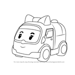 How to Draw Amber Amubulance from Robocar Poli