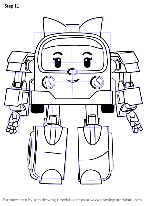 Step by step how to draw amber from robocar poli - Robocar poli ambre ...