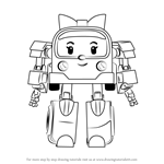 How to Draw Amber from Robocar Poli