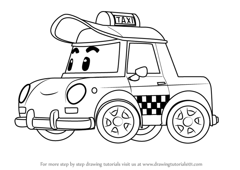 Step by step how to draw cap from robocar poli for Robocar poli coloring pages