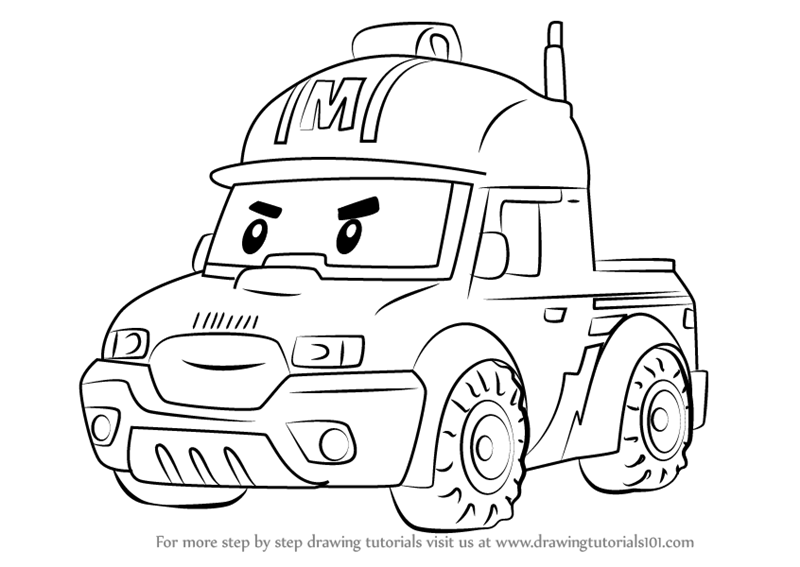 Step By How To Draw Mark From Robocar Poli DrawingTutorials101