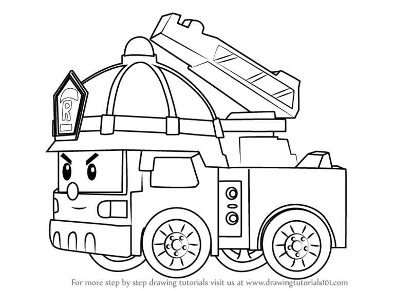 Learn How To Draw Roy Fire Truck From Robocar Poli Robocar Poli Step By Step Drawing Tutorials