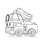 How to Draw Roy Fire Truck from Robocar Poli