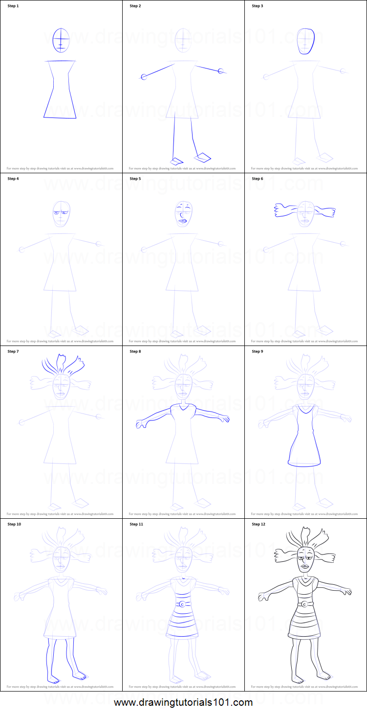 015e78f1a06c1 How to Draw Cynthia from Rugrats printable step by step drawing ...