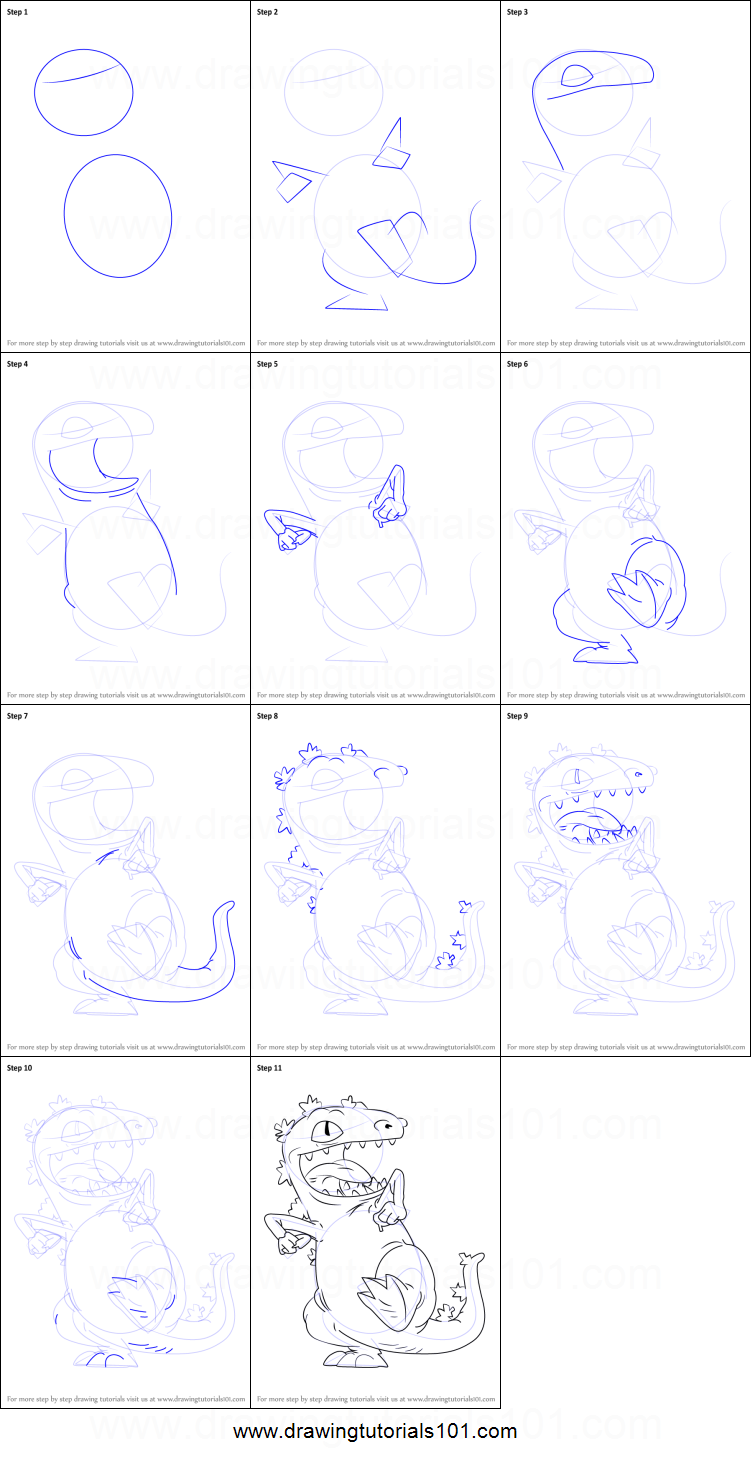 How to Draw Reptar from Rugrats printable step by step drawing sheet ...