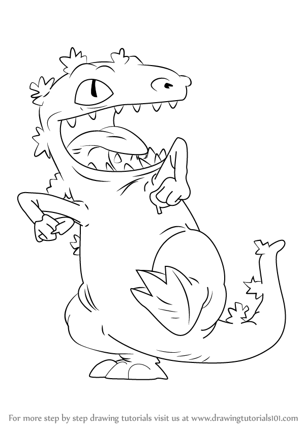 Learn How To Draw Reptar From Rugrats Rugrats Step By