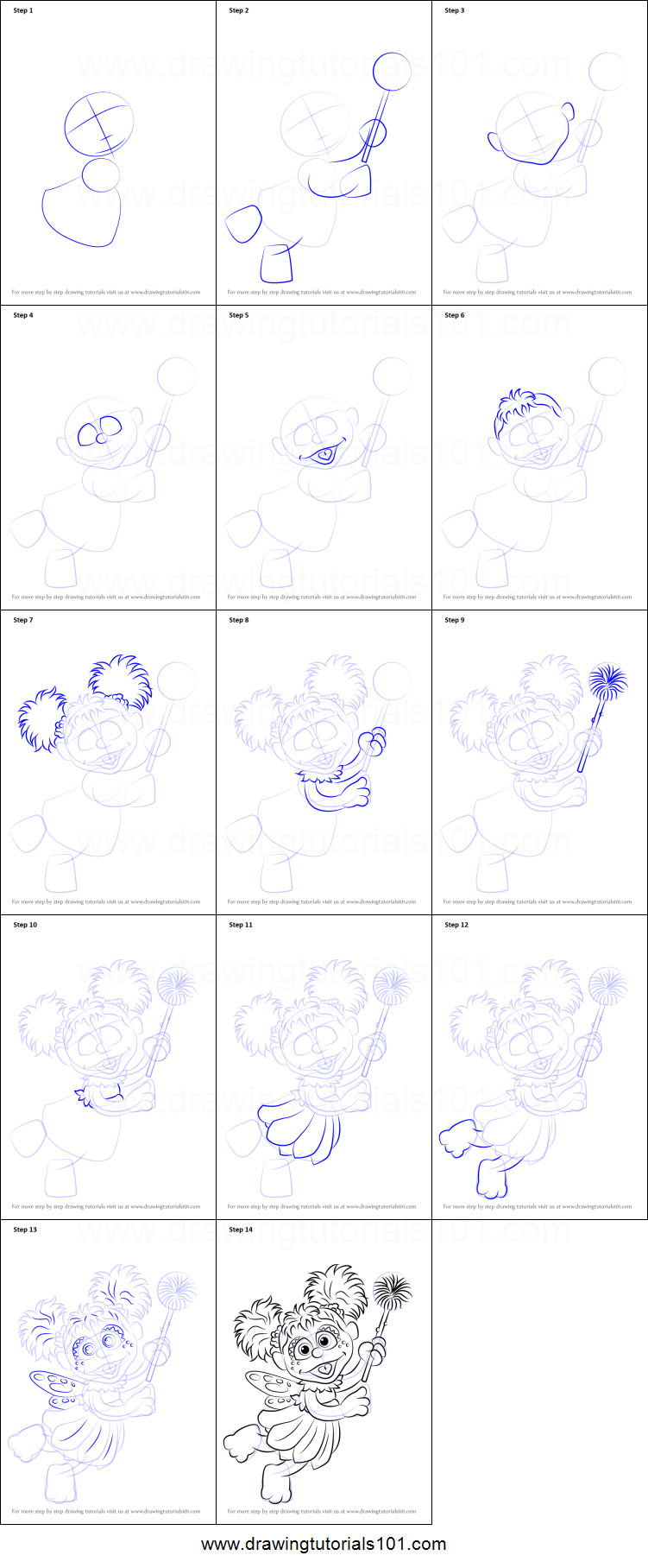 How to Draw Abby Cadabby from Sesame Street printable step