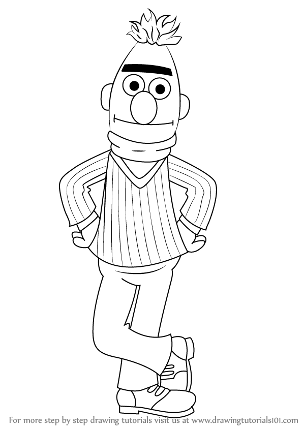 Step By Step How To Draw Bert From Sesame Street