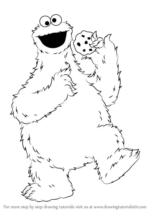 Step by Step How to Draw Cookie Monster from Sesame Street ...