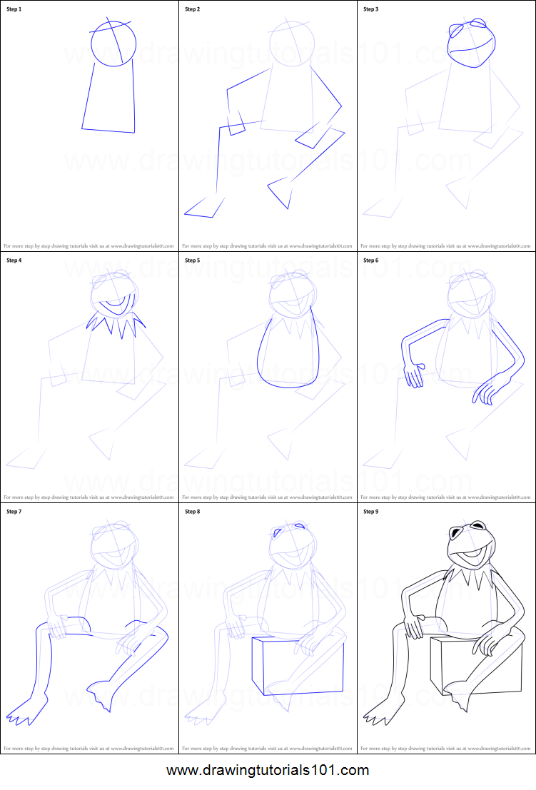 How To Draw Kermit The Frog From Sesame Street Printable Step By
