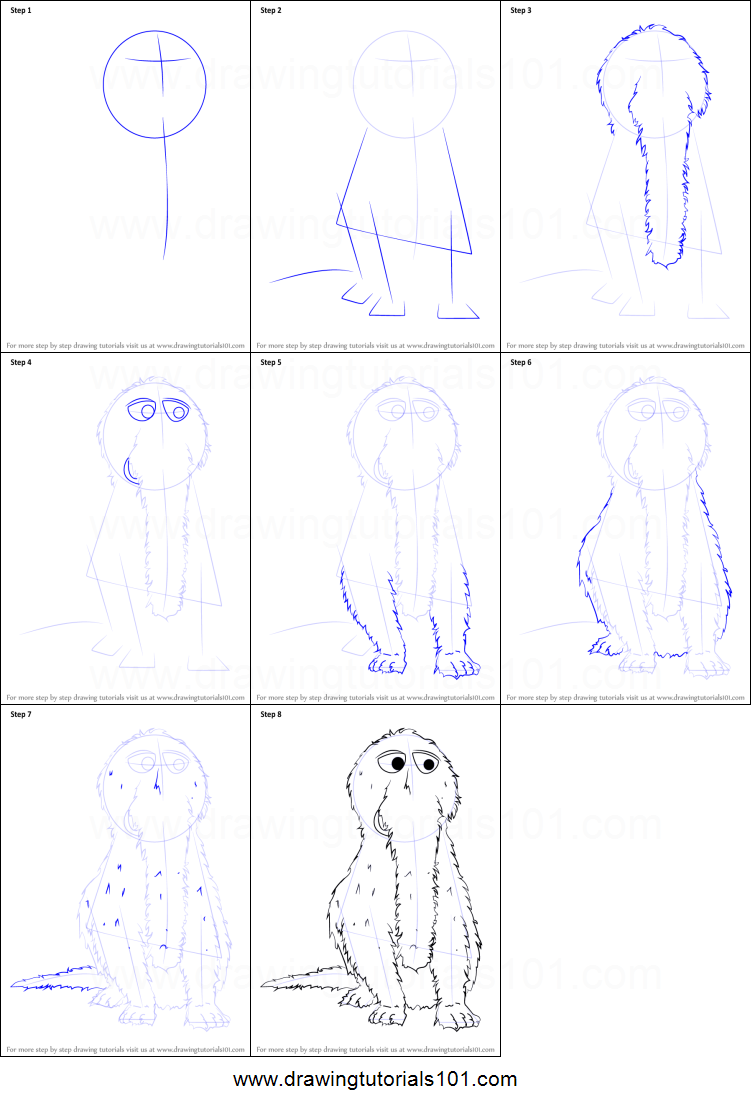 How to Draw Mr Snuffleupagus from Sesame Street printable