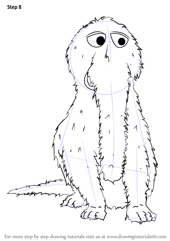 Step By Step How To Draw Mr Snuffleupagus From Sesame