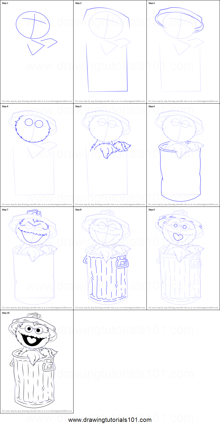 How to Draw Oscar the Grouch from Sesame Street printable
