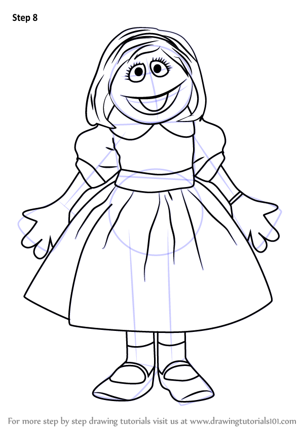 Step By Step How To Draw Prairie Dawn From Sesame Street