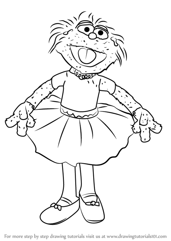 Learn How To Draw Zoe In Tutu Dress From Sesame Street