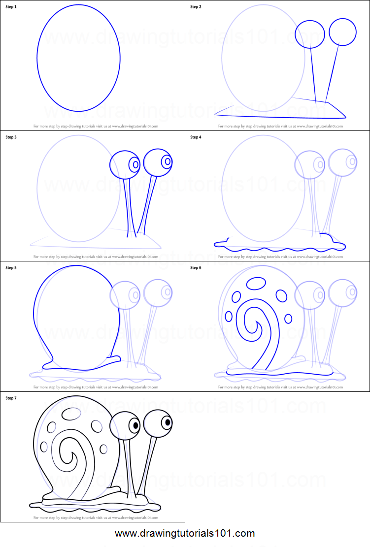 how to draw gary the snail from spongebob squarepants printable