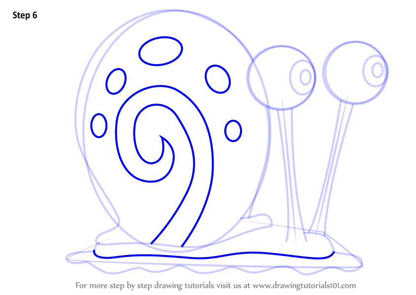 Step By Step How To Draw Gary The Snail From Spongebob Squarepants