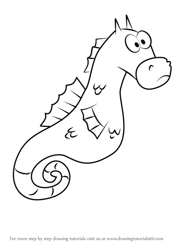Learn how to draw mystery the seahorse from spongebob for How to draw a simple seahorse