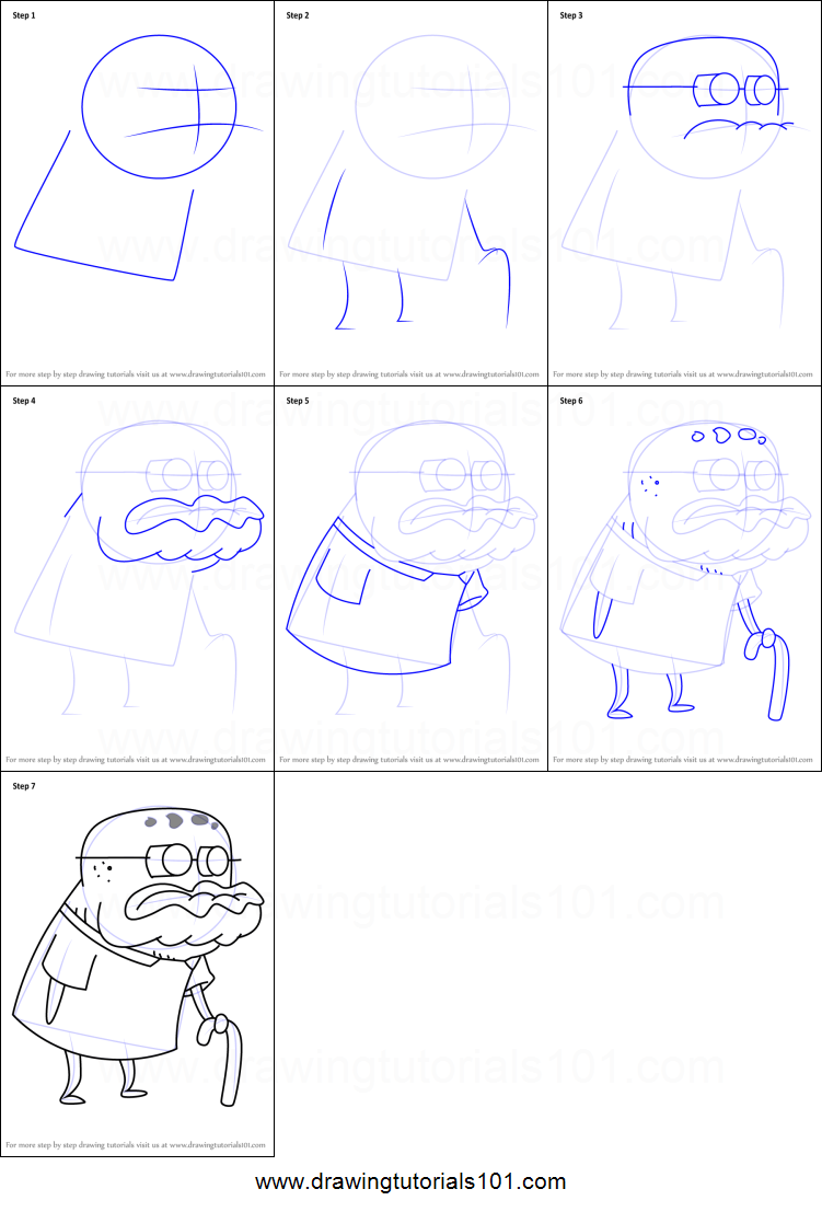 How To Draw Old Man Jenkins From Spongebob Squarepants Printable