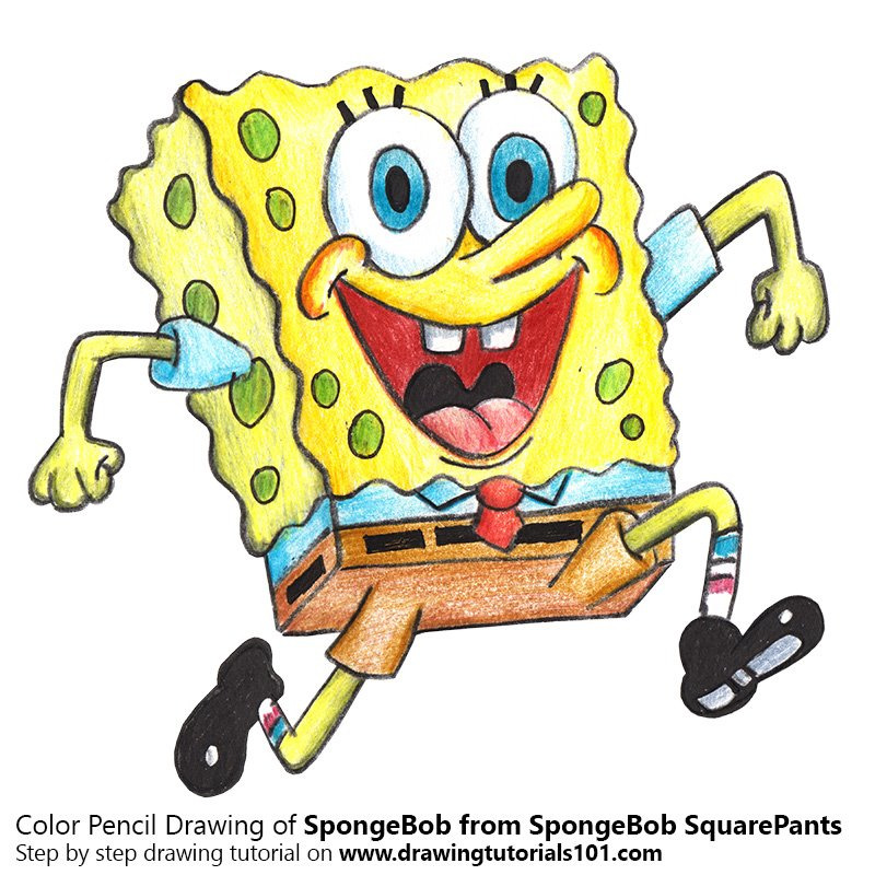 spongebob from spongebob squarepants color pencil drawing
