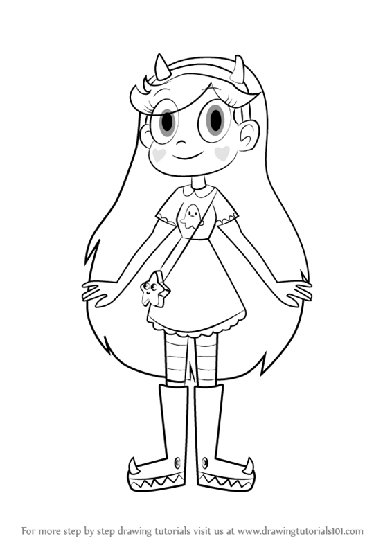 Step By Step How To Draw Star Butterfly From Star Vs The