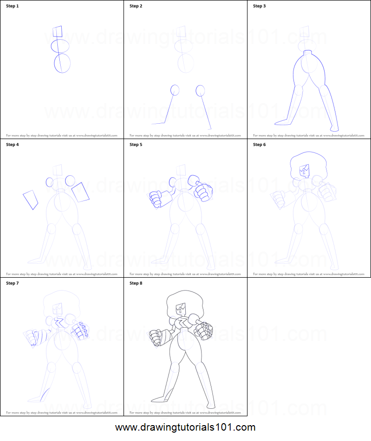 How To Draw Garnet From Steven Universe Printable Step By Step