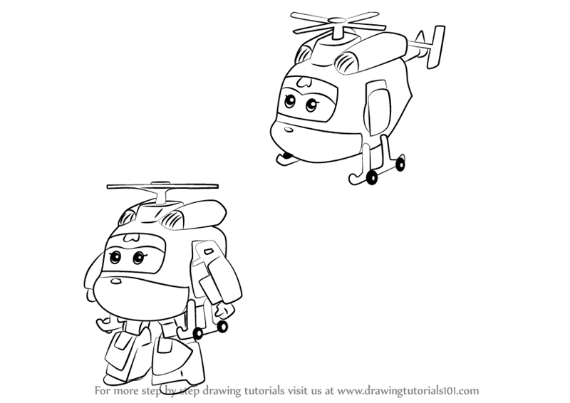 Step By Step How To Draw Dizzy From Super Wings
