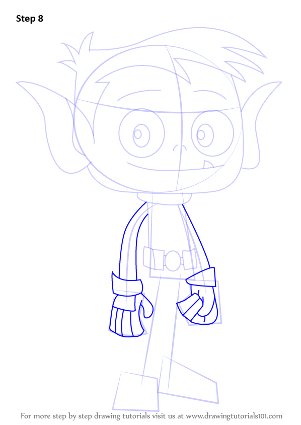 Step By Step How To Draw Beast Boy From Teen Titans Go