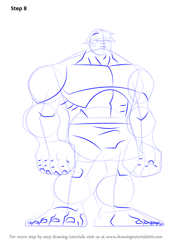 how to draw hulk from avengers step by step