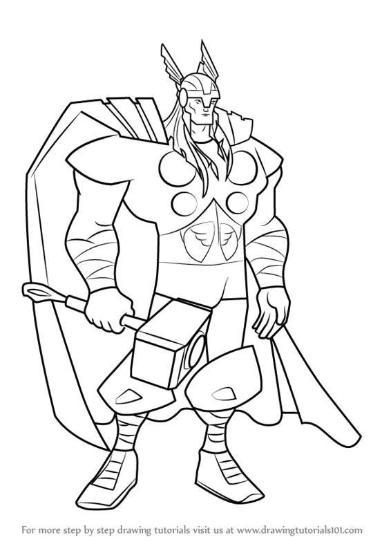 Learn how to draw thor from the avengers earths mightiest heroes the avengers earths mightiest heroes step by step drawing tutorials
