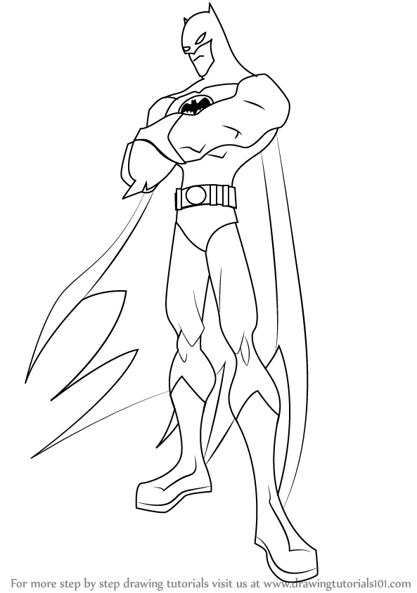 Learn how to draw batman from the batman the batman step for Learn to draw cartoons step by step lessons