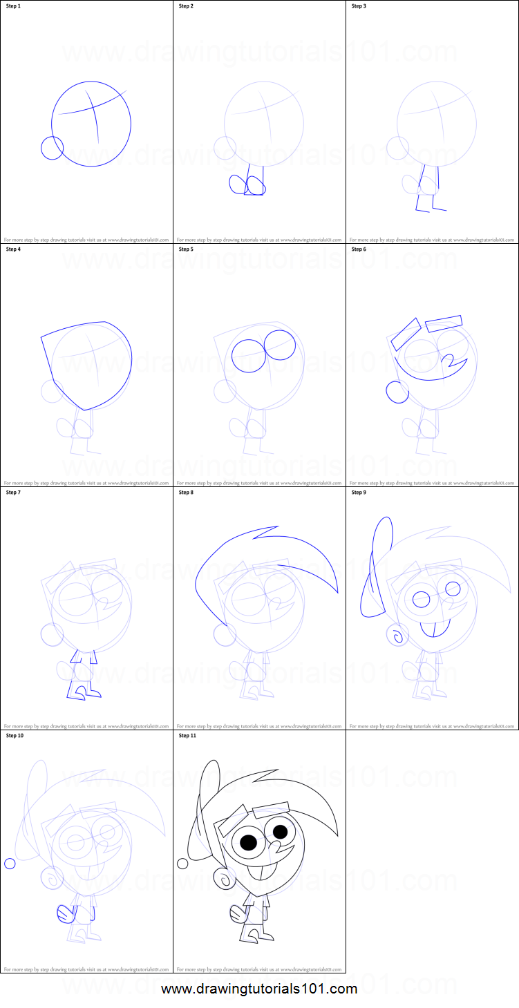 How To Draw Timmy Turner From The Fairly Oddparents Printable on Fairly Oddparents Francis