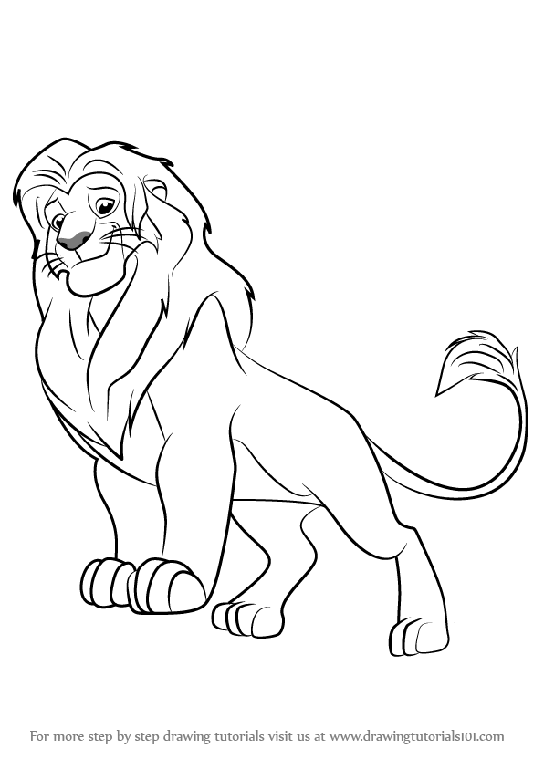 how to draw simba from the lion guard