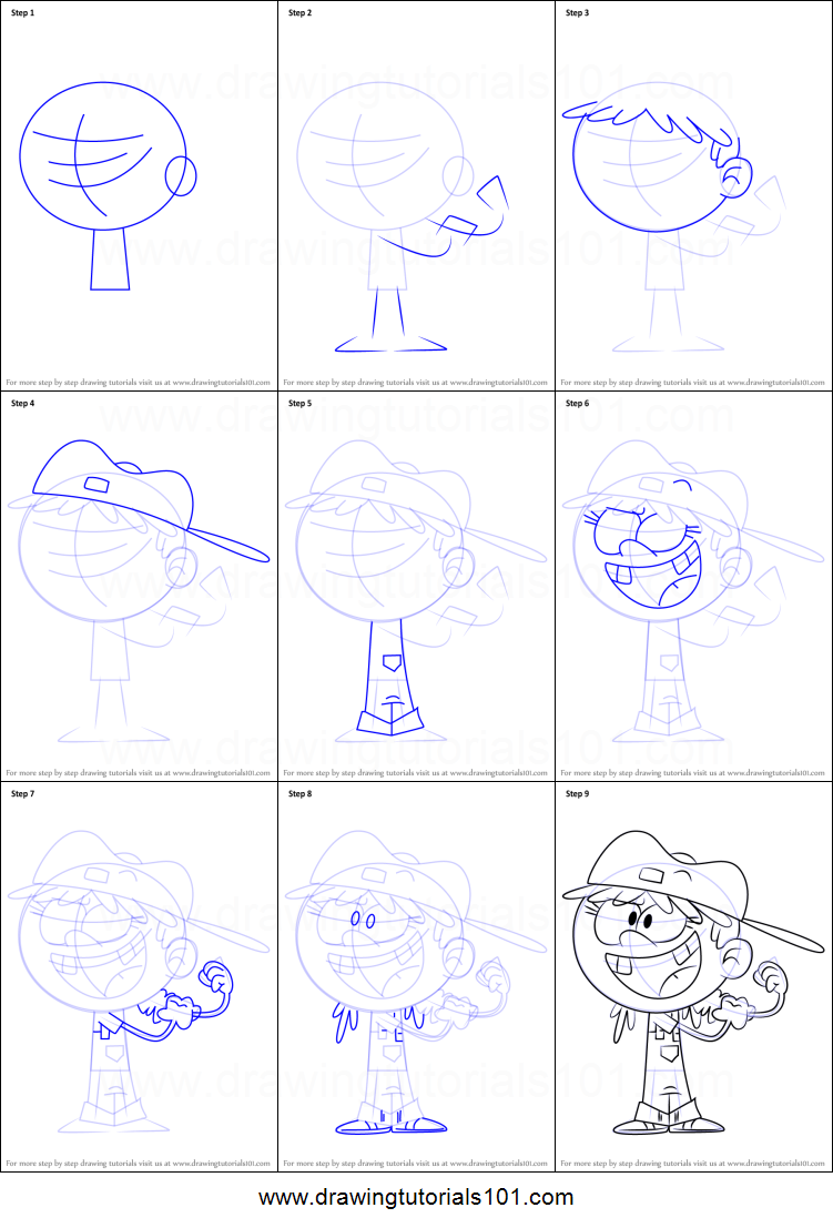 Free coloring pages loud house - How To Draw Lana Loud From The Loud House Printable Step By Step Drawing Sheet Drawingtutorials101 Com