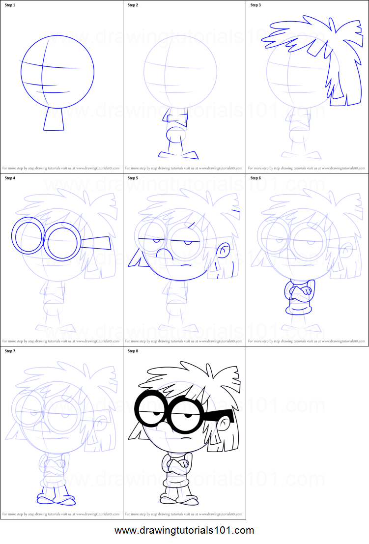 Free coloring pages loud house - How To Draw Lisa Loud From The Loud House Printable Step By Step Drawing Sheet Drawingtutorials101 Com