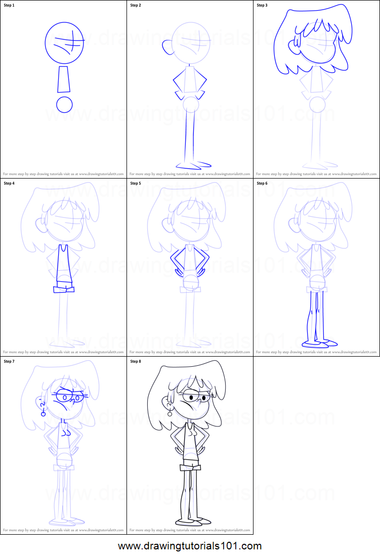 Free coloring pages loud house - How To Draw Lori Loud From The Loud House Printable Step By Step Drawing Sheet Drawingtutorials101 Com