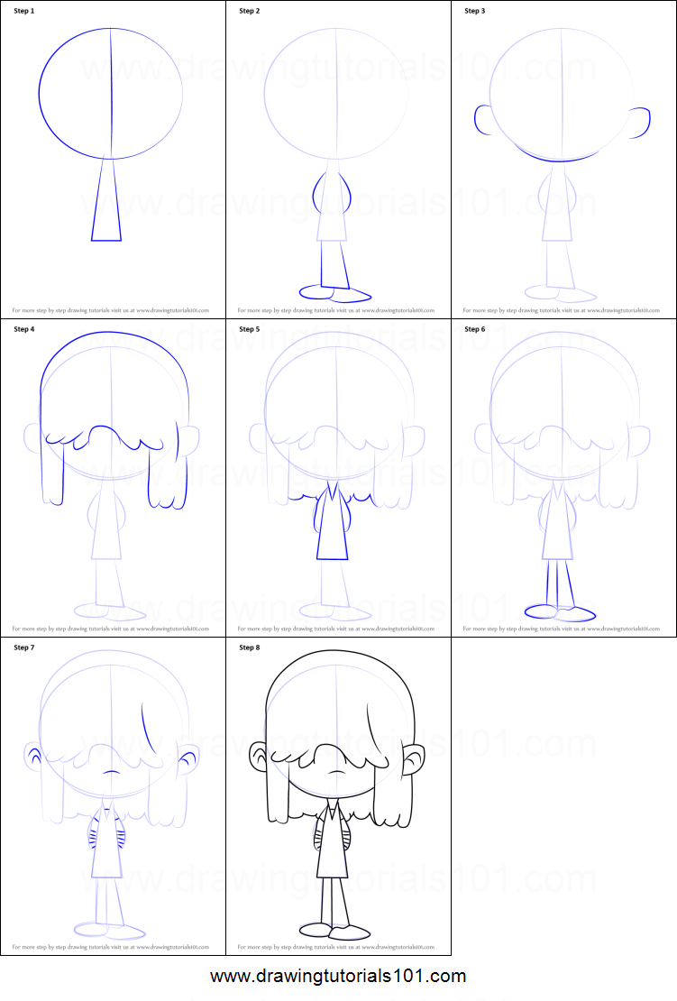 How to Draw Lucy Loud from The Loud House printable step by step drawing sheet