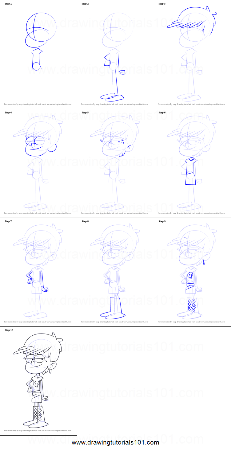 How To Draw Luna Loud From The Loud House Printable Step