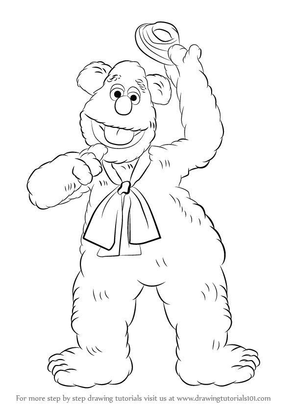 Step by Step How to Draw Fozzie Bear from The Muppet Show DrawingTutorials101