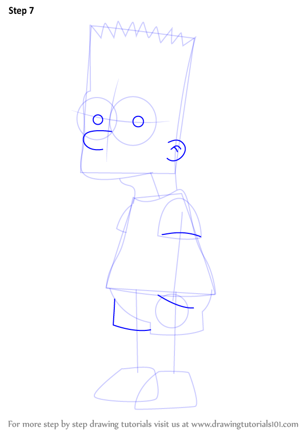 Learn How To Draw Bart Simpson From The Simpsons The Simpsons Step