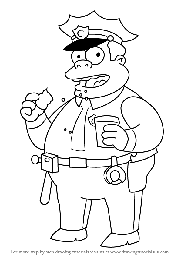 Learn How To Draw Chief Clancy Wiggum From The Simpsons  The Simpsons  Step By Step   Drawing