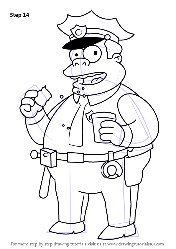 step by step how to draw chief clancy wiggum from the simpsons   drawingtutorials101 com