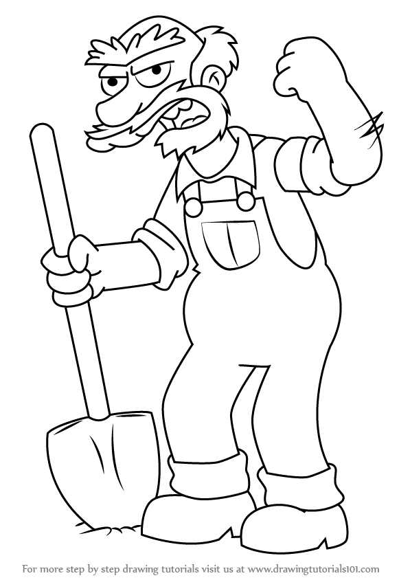 Learn How to Draw Groundskeeper Willie from The Simpsons
